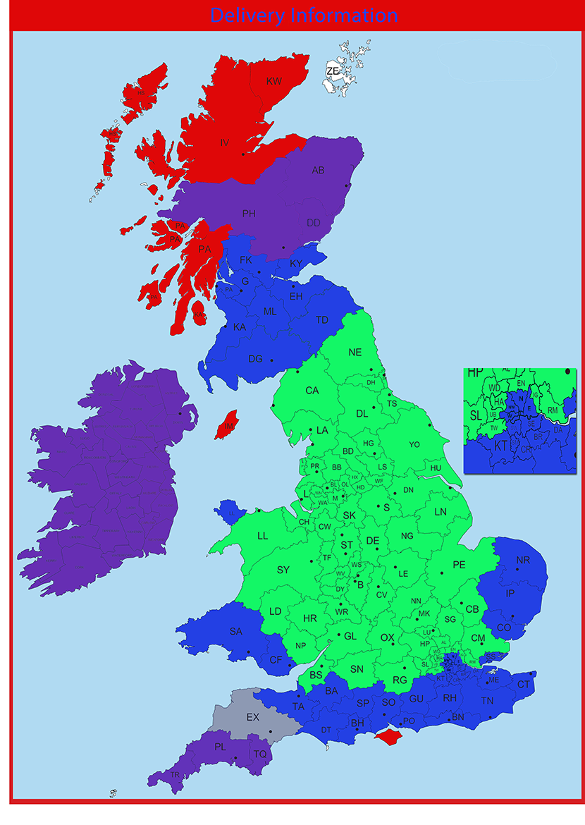 Map Of Uk Scotland And Ireland.Delivery Information Free Delivery Uk