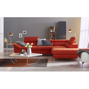 Fabio Corner Sofa Bed Red Natural Leather Fast Delivery