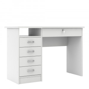 Function Plus Desk 5 Drawers White Fast Delivery