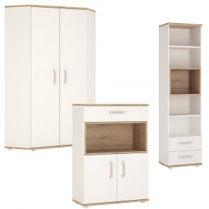 4KIDS Set 2 - Corner Wardrobe with tall bookcase and cupboard