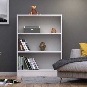 Basic Low Wide Bookcase (2 Shelves) in White fast Delivery