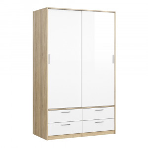 Line Wardrobe - 2 Doors 4 Drawers in Oak with White High Gloss 120
