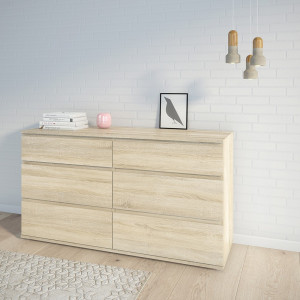 Nova Wide Chest of 6 Drawers (3+3)