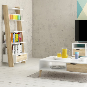 Oslo Leaning Bookcase 1 Drawer