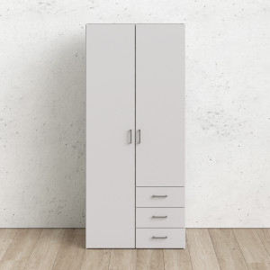 Space Wardrobe with 2 doors + 3 drawers White 77